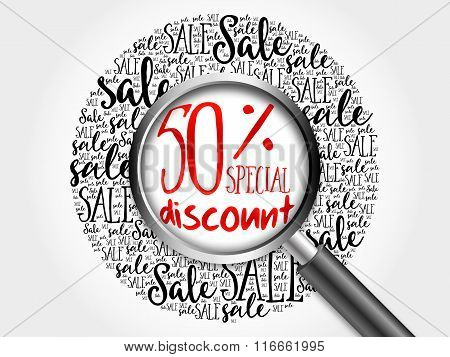 50% Special Discount Sale Word Cloud