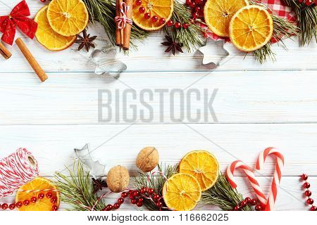 Dried Orange Slices On A Wooden Table