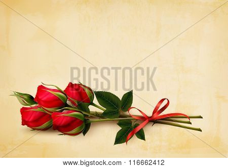 Happy Valentine's Day background. Single red roses on an old paper background. Vector.