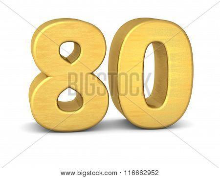 3D Number 80 Gold