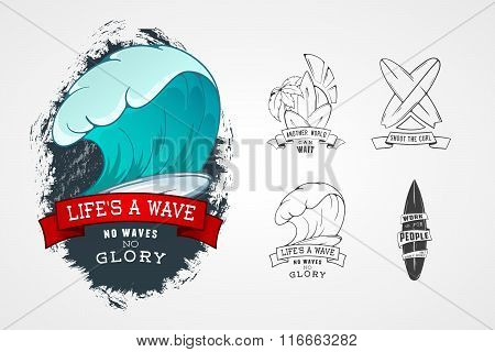 Set Of Vector Patterns For Design Logos On Theme Of Water, Surfing, Ocean, Sea, Palm, Ribbon, Wave,
