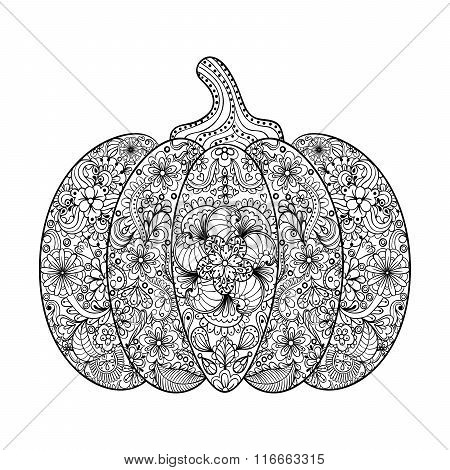 Vector Pumpkin illustration, Hand drawn vegetable in zentangle s