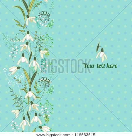 Floral spring template with cute bunches of muscari. For romantic and easter design, announcements, greeting cards, posters, advertisement.