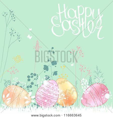 Floral abstract template with stylized herbs and painted eggs.  .Easter pattern for your design, romantic greeting cards, announcements, posters.