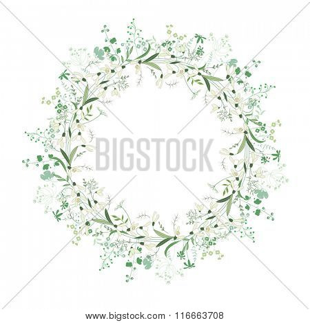 Spring round frame with contour flowers snowdrops on white