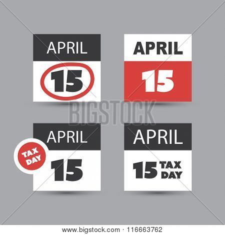 USA Tax Day Icon Set - Calendar Design Template
