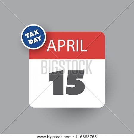 USA Tax Day Icon - Calendar Design Template