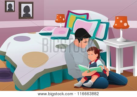 Father Telling A  Bedtime Story To His Daughter