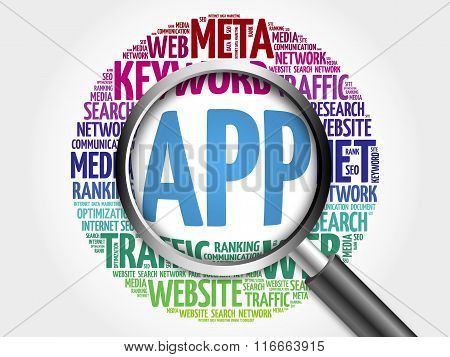 App Word Cloud With Magnifying Glass