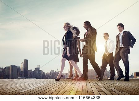 Business Team Walking Teamwork Cityscape Concept