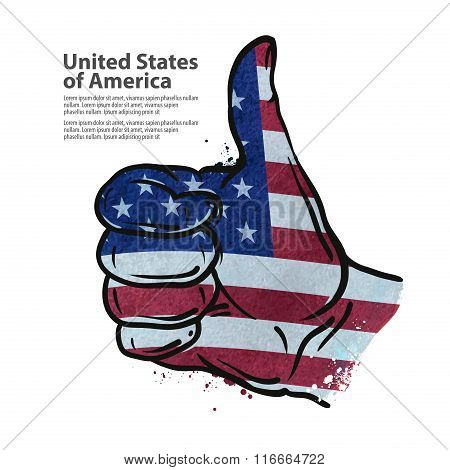 hand gesture thumb up. flag of the USA. vector illustration