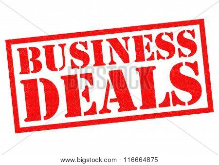 BUSINESS DEALS red Rubber Stamp over a white background.