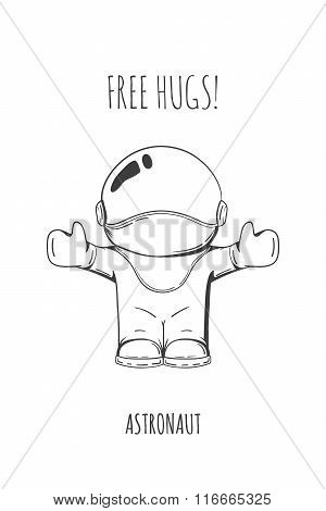 Vector Illustration Astronaut. Design Concept. Free Hugs. Greeting. Embrace. Cute Trendy Character.