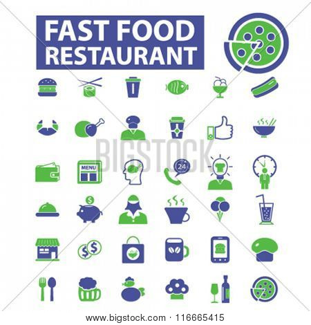 fast food restaurant  icons, signs, vector