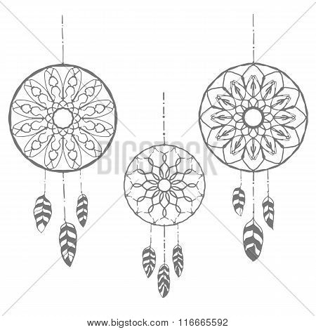 Set of three hand drawn dreamcatchers