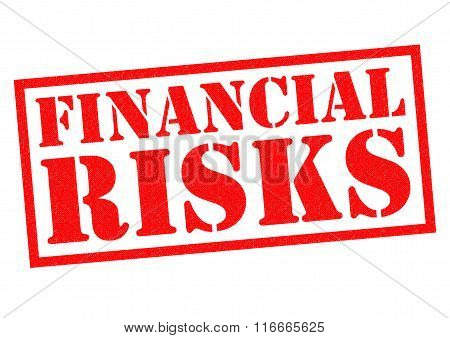 FINANCIAL RISKS red Rubber Stamp over a white background.