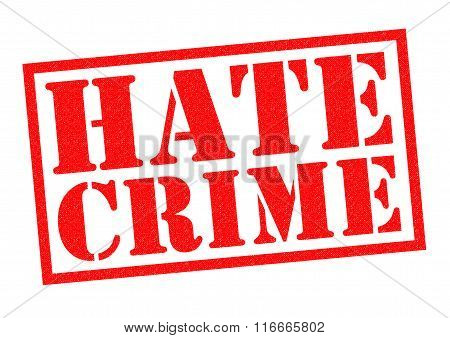 HATE CRIME red Rubber Stamp over a white background.