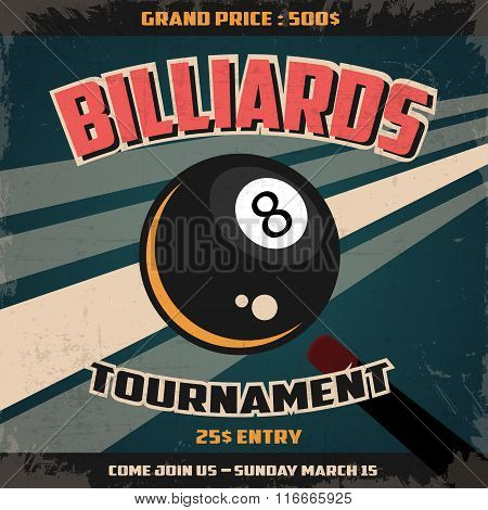 Retro Billiard Tournament  Poster