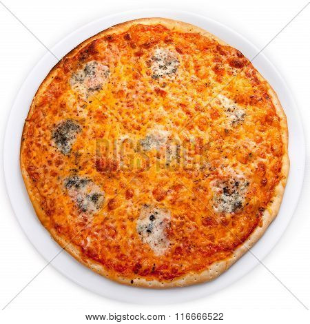 Four Cheese Pizza Isolated