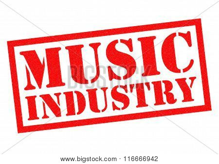 MUSIC INDUSTRY red Rubber Stamp over a white background.