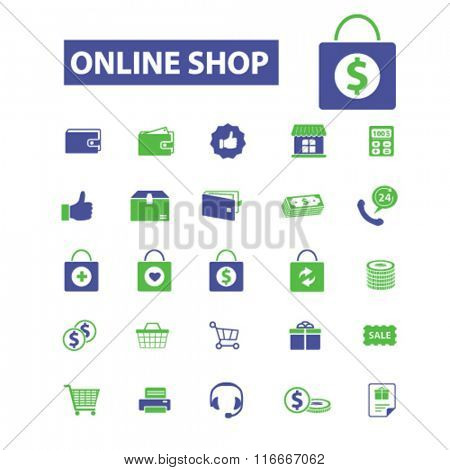 online shop, shopping, retail, cart, sales, store  icons, signs vector concept set for infographics, mobile, website, application