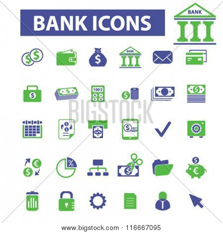 bank, trading, finance, money, check concept  icons, signs vector concept set for infographics, mobile, website, application
