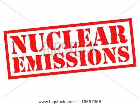 NUCLEAR EMISSIONS red Rubber Stamp over a white background.