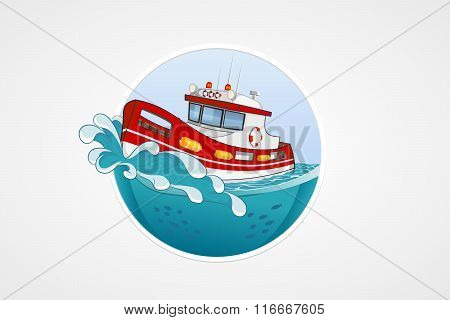 Moving Rescue Boat. Deep Sea With Wave. Round Vector Computer Icons For Applications Or Games. Logo
