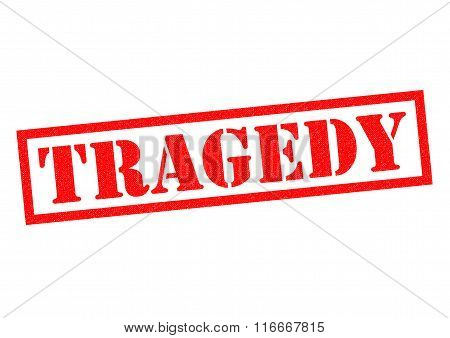 TRAGEDY red Rubber Stamp over a white background.