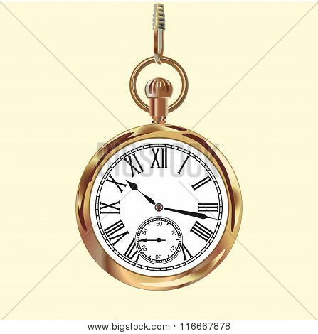 Golden vintage pocket watch