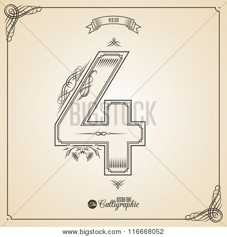 Calligraphic Fotn with Border, Frame Elements and Invitation Design Symbols. Collection of Vector glyph. Certificate and Decor Design Elements. Hand written retro feather Symbol. Number 4