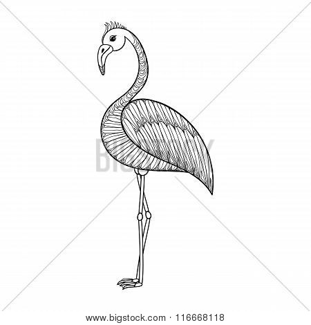 Coloring page with Flamingo bird, zentangle illustartion tribal