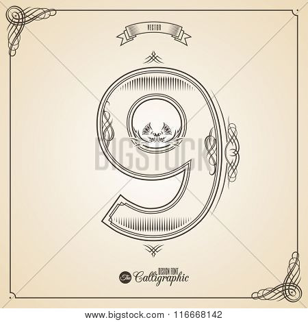Calligraphic Fotn with Border, Frame Elements and Invitation Design Symbols. Collection of Vector glyph. Certificate and Decor Design Elements. Hand written retro feather Symbol. Number 9