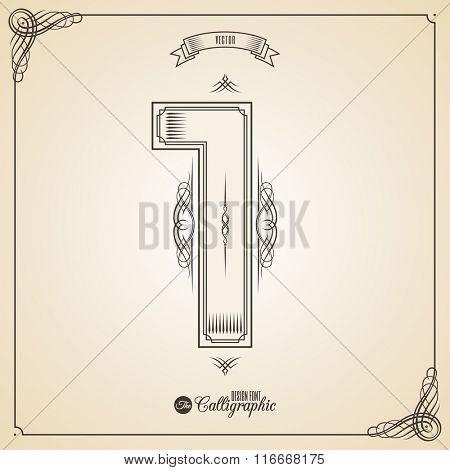 Calligraphic Fotn with Border, Frame Elements and Invitation Design Symbols. Collection of Vector glyph. Certificate and Decor Design Elements. Hand written retro feather Symbol. Number 1