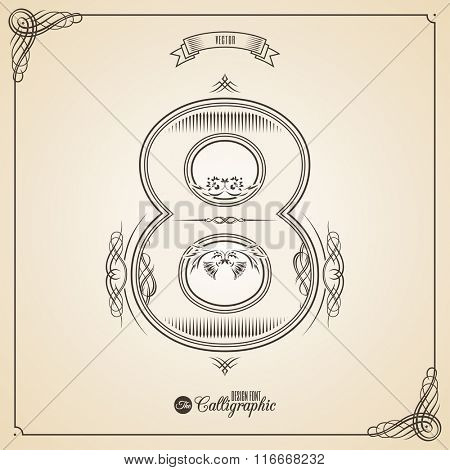 Calligraphic Fotn with Border, Frame Elements and Invitation Design Symbols. Collection of Vector glyph. Certificate and Decor Design Elements. Hand written retro feather Symbol. Number 8