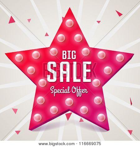 Big Sale Vector Illustration. Pink Star. Sale Retro Banner