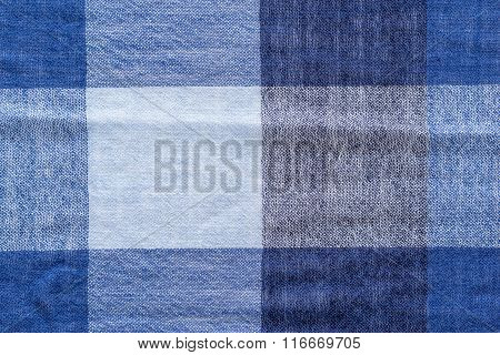 Texture Soft Woolen Checkered Fabric Of Blue Tone