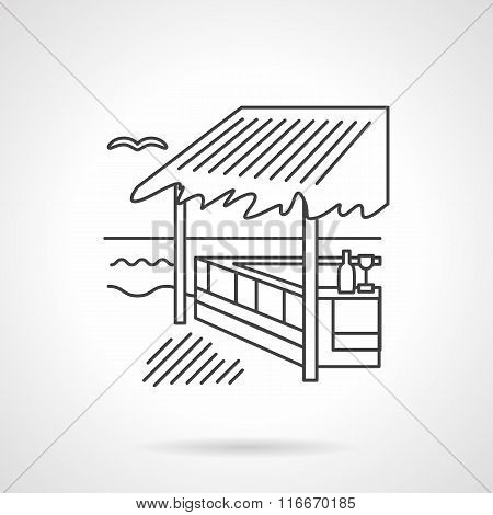 Bungalow flat line vector icon