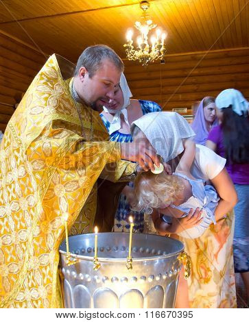 MURMANSK, Russian federation - december 12 2011, Baptism in the Christian church, Murmansk