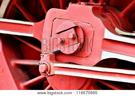 Driving Wheel Mechanism On Old Steam Train
