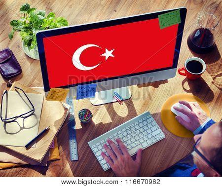 Browsing Network Internet Turkey Flag Concept