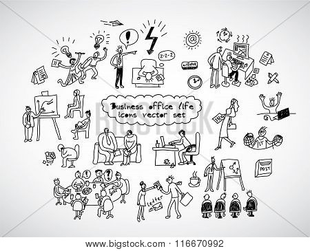 Office life black lines icons set business people.