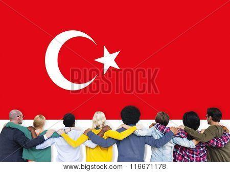Turkey National Flag Teamwork Diversity Concept