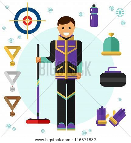 Ice curling sport game icons