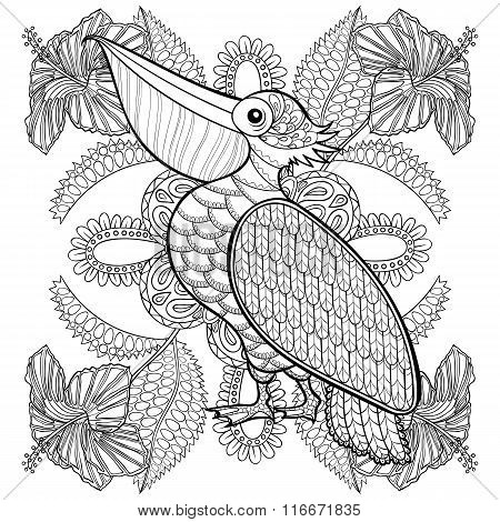 Coloring page with Pelican in hibiskus flowers, zentangle illust