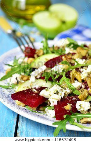 Beet Salad With Feta,apple,walnut And Arugula.