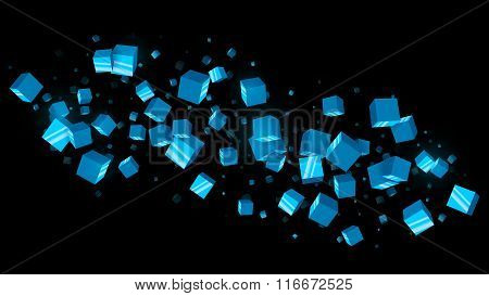 Abstract Blue Cubes Dark Background