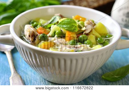 Vegetable Soup With Chicken And Vermicelli.