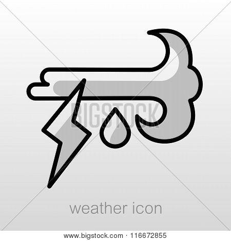 Wind Rain Lightning Icon. Meteorology. Weather