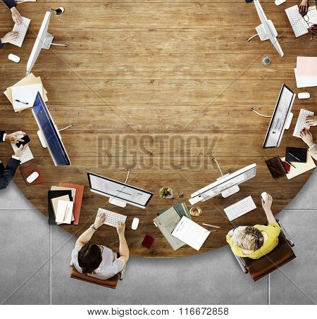 Aerial View Corporate Collaboration Working Table Concept
